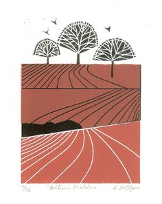 Landscape Autumn Field Linocut Limited Edition of Only 12