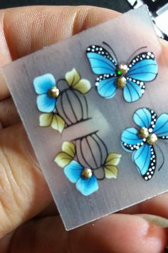 3d Nail Art, 3d Nails, Love Nails, Nail Art Stickers, Nail Decals, Fingernail Designs, Nail Art Designs, One Stroke Nails, Butterfly Pictures