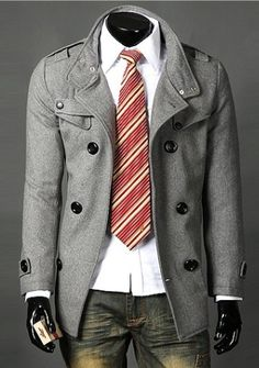 Nifty & Casual Pure color Stand Collar Double-breasted Coat----Gray
