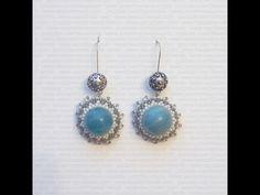 Tutorial Orecchini perline: Brick Stitch - perla Amazzonite circondata d...