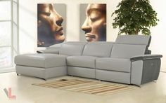 AURA LIGHT GREY POWER RECLINING MEDIUM SECTIONAL SOFA WITH LEFT FACING CHAISE