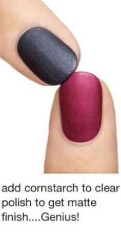 DIY matte nail polish! i just did this and it actually works super good! just make sure and add a lot of cornstarch! :)