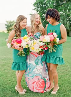 colorful bridesmaid dresses with a pattern for the maid of honor | Katie Stoops