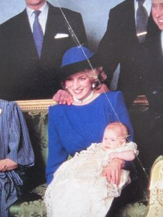 December 21, 1984: Princess Diana with Prince Henry Charles Albert David a.k.a. Prince Harry at Windsor Castle following his christening at St. George's Chapel.