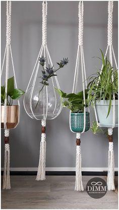 """Stoere macramé planthanger """"crown knot"""", 5mm katoen touw, grote houten kraal, geschikt voor grote potten"""