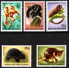 Papua New Guinea 1971 Fauna Conservation Set Fine Mint Scott 323 7 Other Papua New Guinea Stamps HERE