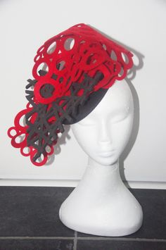 Designer fascinator one of a kind. Black and Red cut out felt hand sewn on black felt base races, cup fashions on the feild by DesignerFascinators on Etsy Fascinator, Headpiece, Black Felt, Hand Sewn, Crochet Earrings, Trending Outfits, Base, Unique Jewelry, Handmade Gifts
