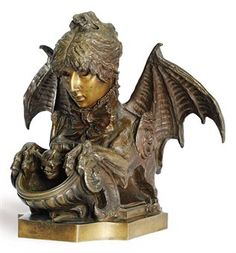 'ENCRIER FANTASTIQUE': A FRENCH BRONZE SELF-PORTRAIT INKWELL OF SARAH BERNHARDT CAST BY THIEBAUT FRÈRES, PARIS, FROM THE MODEL BY SARAH BERNHARDT, DATED 1880