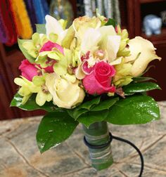 Hand Tied Bridal Bouquet- Pink & Green $150