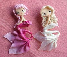 Sirenitas .- Polymer Clay Figures, Cute Polymer Clay, Polymer Clay Dolls, Cute Clay, Polymer Clay Charms, Diy Clay, Polymer Clay Jewelry, Clay Crafts, Polymer Clay Princess