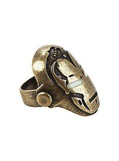 <p>Burnished gold tone ring from Marvel with an <i>Iron Man</i> helmet design featuring glow-in-the-dark eyes.</p>  <ul> <li>Size: 8</li> <li>Alloy</li> <li>Imported</li> </ul>