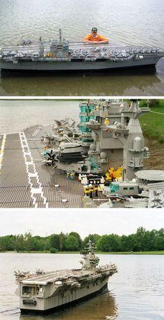 A lego aircraft carrier - bricks! The coolest Lego creation ever! Legos, Minifigura Lego, Lego War, Lego Aircraft Carrier, Modele Lego, Amazing Lego Creations, Lego Boards, Lego Ship, Lego Design