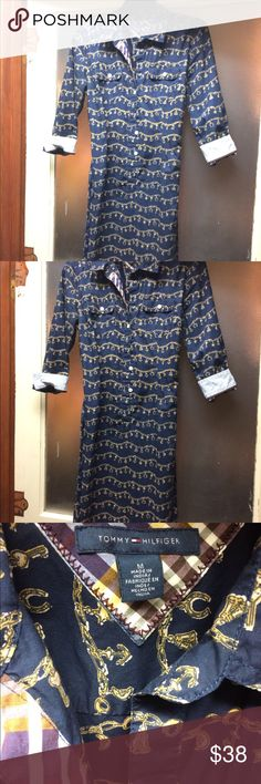 Tommy Hilfiger shirtdress Blue and gold pattern Tommy Hilfiger shirtdress with beautiful accents. Nice material. Tommy Hilfiger Dresses Midi