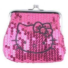 ee31916b9e Hello Kitty Pink Dazzled Sequin Kiss Lock Coin Purse Wallet www.BagLane.com