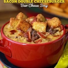 Bacon Double Cheeseburger Beer Cheese Soup Recipe Soups with thick-cut bacon, lean ground beef, all-purpose flour, montreal steak seasoning, smoked paprika, beer, half & half, mild cheddar cheese, bacon bits, pickles, croutons