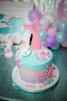 MERMAZING Ideas for Mermaid Birthday Cakes that your kid will LOVE - even some DIY Mermaid Cakes! Find cakes that will inspire the best Mermaid cake ever! Mermaid Birthday Cakes, Mermaid Cakes, Cake Birthday, Mermaid Themed Party, Mermaid Birthday Party Ideas, Mermaid Tail Cake, Mermaid Diy, Unicorn Party, Girl Birthday Themes