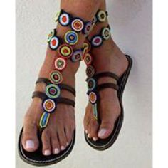 African Fashion - Ladies Beaded Maasai Sandals #maasai