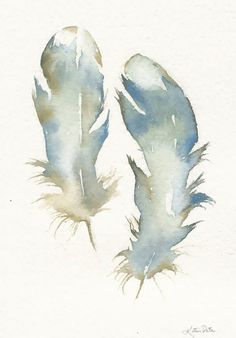 8x10 Print Blue Watercolor Feathers by by PinkPoppyWatercolors