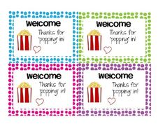 """Thanks for Popping In"" Labels Freebie Great for Parent - Teacher Conferences!"