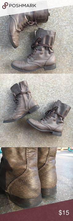 Lace Up Combat Boots Very edgy brown combat boots, great for Fall, Winter and Spring! These have both front laces and side zippers. In great shape! Can be worn laced all the way up or laced halfway up and tied around the boot (my fave)! SO Shoes Combat & Moto Boots