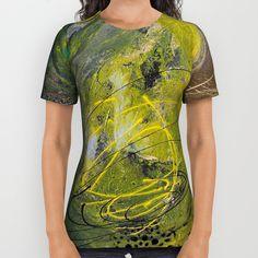 Lime spray painting on canvas, handmade All Over Print Shirt