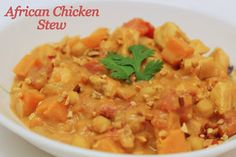 African Chicken Stew: Made with Chicken, Sweet Potatoes, & Peanut Butter. Under 500 calories.