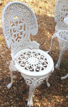 Salon de jardin en fonte d\'aluminium blanc - Mailleraye.fr jardin