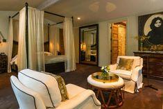 Sela Ward dark green master bedroom | www.bocadolobo.com | #masterbedroominspirations #sheerdraps #whitesofa #selaward