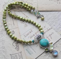 turquoise and peridot beads and jewelry | Turquoise, Moonstone, Peridot, FWPearls | miabellacollection-jewelry ...