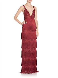 Marchesa Notte - Fringed Sleeveless Gown