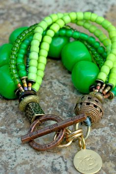 Green and Copper Multi-Strand Bracelet