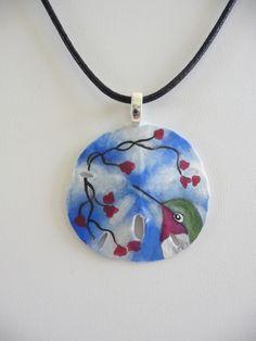 """Sweet Hummingbird"" sand dollar art pendant"