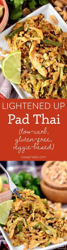 Lightened Up Pad Thai is low-carb, gluten-free, and vegetable-based, yet full of signature Pad Thai flavor. Healthy, light, and ready in 15 minutes! | iowagirleats.com