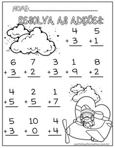 Simple Addition up to Kindergarten Math Worksheets, School Worksheets, Preschool Math, Teaching Math, Math Activities, Math Addition, Simple Addition, First Grade Math, Math For Kids