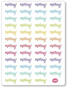 Rainbow Lettering... added to the shop! View/purchase at http://www.plannerpenny.com/products/rainbow-lettering-meeting-planner-stickers?utm_campaign=social_autopilot&utm_source=pin&utm_medium=pin