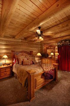 Cozy bedroom in Idaho log cabin