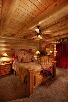 Cozy bedroom in Idaho log cabin