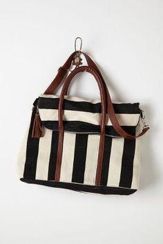 black and white weekender bag