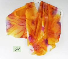 Orange scarf hand painted, Small Neck Women chiffon scarf, scarf bright, Casual scarf, Gift Her Wife Girlfriend, Women Fashion Scarves   Hand painting silk. Authors design. Each scarf is a work of art that is impossible to replicate. **************************************************************** Material: natural silk chiffon.  size 96 * 43 cm /38*15 inche/    Paintind Technique: Handmade art painting on silk. Hand Dyed Silk Shibori  handmade one of a kind Japanese technique of dyeing…