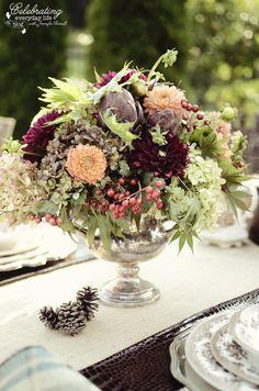Autumn Flowers for Romantic Ralph Lauren inspired dinner for two, purple artichokes, mums, berries, hydrangea
