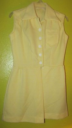 VINTAGE 60s Yellow Mini Dress Mod GoGo Sleeveless Summer Sundress Beach Cover S #Sundress