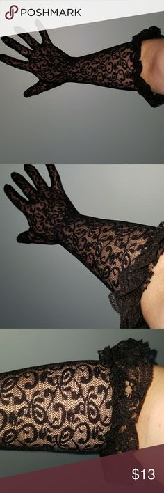 New Lace Ruffle Gloves NWT . Onky took out of package to model for you. Black lace gloves with a ruffle top. Gloves come up to my elbow. 16  ' long. Very sexy. Can be worn on a sexy night 😉, to a formal affair, nightclub, so time party etc. Accessories Gloves & Mittens