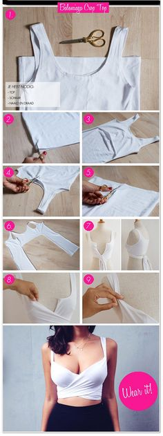 How to make this Balenciaga inspired crop top. 15 great ideas on how to refashion & restyle old T shirts into fun crafts and accessories. You'll never have to wonder what to do with old T shirts. Diy Crop Top, Crop Tops, Tank Tops, Diy Camisa, Sewing Hacks, Sewing Projects, Diy Projects, Sewing Tutorials, Sewing Diy
