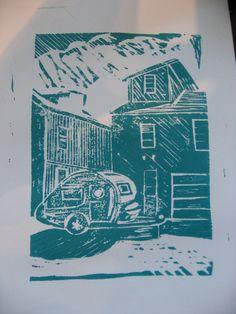 Happy Camper as a linoleum block print!