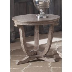 $230 Greystone Mill Stone Washed Round End Table
