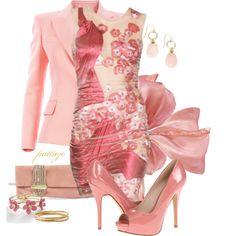 Easter for Sue by rockreborn on Polyvore featuring polyvore fashion style Balmain ALDO Jimmy Choo Apt. 9 NuNu Designs Stella & Dot Alexander McQueen pink floral dress