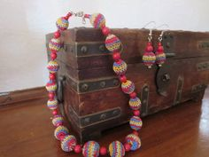 Colorful Crochet Bead Necklace and Earrings by uniquestitchesdetroit on Etsy,