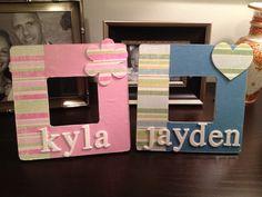 DIY grandchildren frames.. Scrapbook paper and mod Podge!
