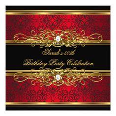 50th Birthday Party Invitations Elegant 50th Birthday Party Red Black Gold Damask Card