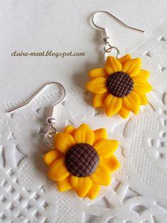 """orecchini con due """"solari"""" Girasoli.Nel Linguaggio dei fiori sono simbolo di energia e di amicizia sincera, 6€ su misshobby.com"""